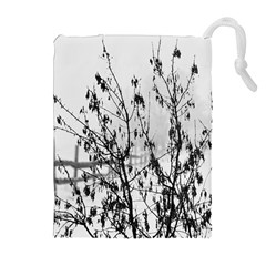 Snow Winter Cold Landscape Fence Drawstring Pouches (extra Large)