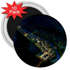 Commercial Street Night View 3  Magnets (10 Pack)