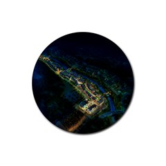 Commercial Street Night View Rubber Coaster (round)