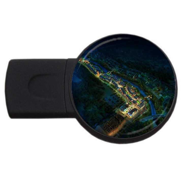 Commercial Street Night View USB Flash Drive Round (2 GB)