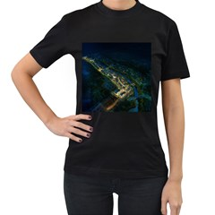 Commercial Street Night View Women s T Shirt (black) (two Sided)