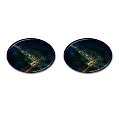 Commercial Street Night View Cufflinks (oval)