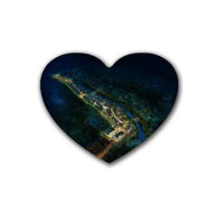 Commercial Street Night View Heart Coaster (4 Pack)