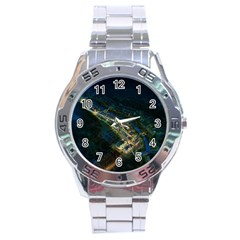 Commercial Street Night View Stainless Steel Analogue Watch