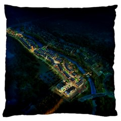 Commercial Street Night View Large Flano Cushion Case (two Sides)