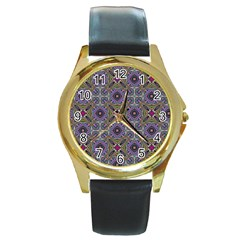 Vintage Abstract Unique Original Round Gold Metal Watch