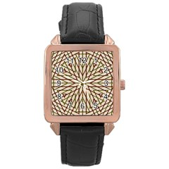 Kaleidoscope Online Triangle Rose Gold Leather Watch  by BangZart