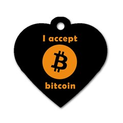 I Accept Bitcoin Dog Tag Heart (one Side) by Valentinaart