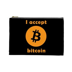 I Accept Bitcoin Cosmetic Bag (large)  by Valentinaart