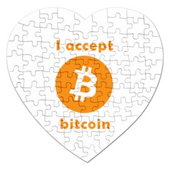 I Accept Bitcoin Jigsaw Puzzle (heart) by Valentinaart