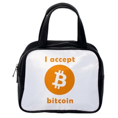 I Accept Bitcoin Classic Handbags (one Side) by Valentinaart