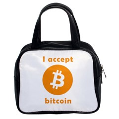 I Accept Bitcoin Classic Handbags (2 Sides) by Valentinaart