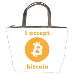I Accept Bitcoin Bucket Bags by Valentinaart