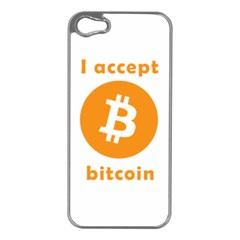 I Accept Bitcoin Apple Iphone 5 Case (silver) by Valentinaart
