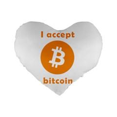 I Accept Bitcoin Standard 16  Premium Heart Shape Cushions by Valentinaart