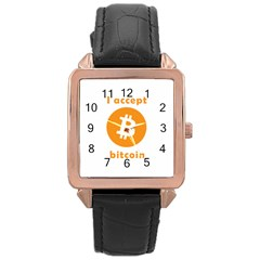 I Accept Bitcoin Rose Gold Leather Watch  by Valentinaart