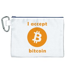I Accept Bitcoin Canvas Cosmetic Bag (xl) by Valentinaart
