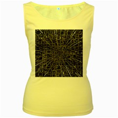 Black Abstract Structure Pattern Women s Yellow Tank Top