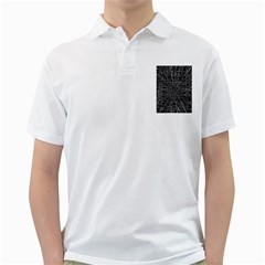 Black Abstract Structure Pattern Golf Shirts