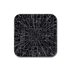 Black Abstract Structure Pattern Rubber Square Coaster (4 Pack)  by BangZart