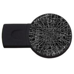 Black Abstract Structure Pattern Usb Flash Drive Round (4 Gb)
