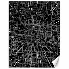 Black Abstract Structure Pattern Canvas 12  X 16