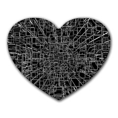 Black Abstract Structure Pattern Heart Mousepads
