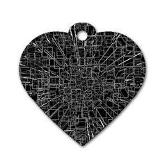 Black Abstract Structure Pattern Dog Tag Heart (two Sides)