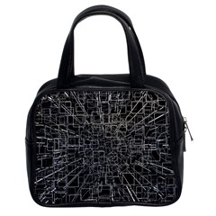 Black Abstract Structure Pattern Classic Handbags (2 Sides)