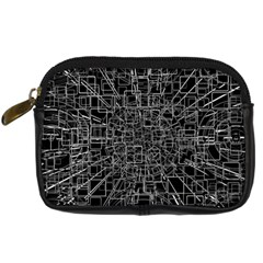 Black Abstract Structure Pattern Digital Camera Cases