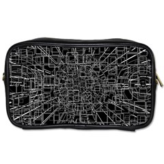 Black Abstract Structure Pattern Toiletries Bags