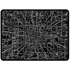 Black Abstract Structure Pattern Fleece Blanket (large)