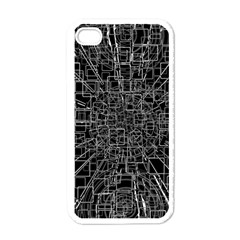 Black Abstract Structure Pattern Apple Iphone 4 Case (white)