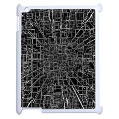 Black Abstract Structure Pattern Apple Ipad 2 Case (white)