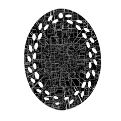 Black Abstract Structure Pattern Oval Filigree Ornament (two Sides)