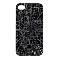 Black Abstract Structure Pattern Apple Iphone 4/4s Hardshell Case