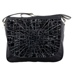 Black Abstract Structure Pattern Messenger Bags