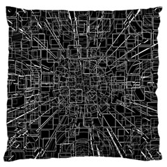 Black Abstract Structure Pattern Large Cushion Case (one Side)