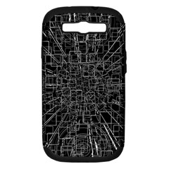 Black Abstract Structure Pattern Samsung Galaxy S Iii Hardshell Case (pc+silicone) by BangZart