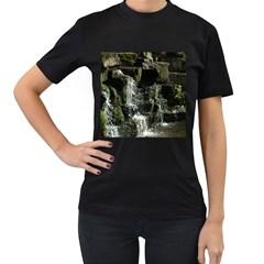 Water Waterfall Nature Splash Flow Women s T Shirt (black) (two Sided)