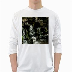 Water Waterfall Nature Splash Flow White Long Sleeve T Shirts