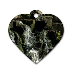 Water Waterfall Nature Splash Flow Dog Tag Heart (one Side)
