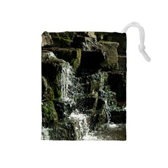 Water Waterfall Nature Splash Flow Drawstring Pouches (medium)  by BangZart