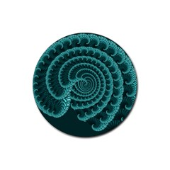 Fractals Form Pattern Abstract Rubber Round Coaster (4 Pack)