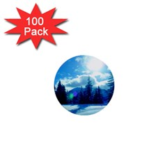 Ski Holidays Landscape Blue 1  Mini Buttons (100 Pack)