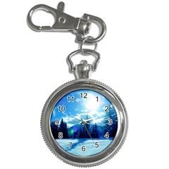 Ski Holidays Landscape Blue Key Chain Watches