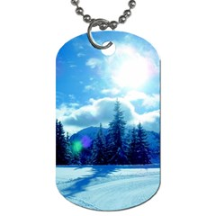 Ski Holidays Landscape Blue Dog Tag (one Side)