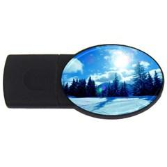 Ski Holidays Landscape Blue Usb Flash Drive Oval (2 Gb)
