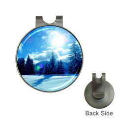 Ski Holidays Landscape Blue Hat Clips With Golf Markers