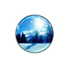 Ski Holidays Landscape Blue Hat Clip Ball Marker
